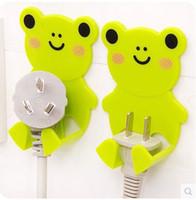Wholesale Bear Shape Creative Lovely Cartoon Kitchen Plastic Socket Power Plug Storage Hock Holder Wall Hanger In Kitchen Bathroom set