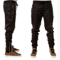 big men urban clothing - New Kanye west Hip Hop big and tall Fashion zippers jogers Pant Men Black Joggers dance urban Clothing Mens faux leather Pants