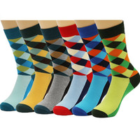 argyle socks cotton - 6 Packs Men Colorful Dress Socks Warm Funny Color Argyle High Fun Sock Multicoloured One Size