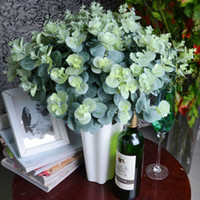 Wholesale 3 bouquet artificial eucalyptus leaf Green plant branches Flower arranging accessories money leaves