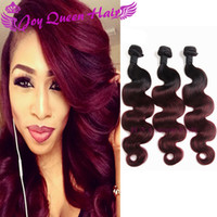 Wholesale Ombre Weave Hair Bundle Two tone Color B J Burgundy Wine Red Unprocessed Body wave Brazilian Peruvian Indian Ombre Human hair extension