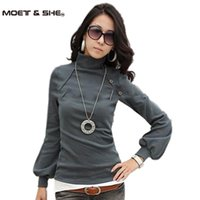 basic grey buttons - Women New Autumn Winter Lantern Sleeve Shirt Turtle Neck Top Long Sleeve Basic Tees Tops Grey White