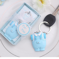 pink, blue baby girl shower plates - Baby Shower Gift Cute Resin Baby Clothes Key Chain Blue Keychain for boy pink for girl Wedding Gift WA1678
