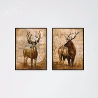 ar photos - 2pcs Modern Deer Real Animal Pictures Elk Oil Printing Canvas Paintnecor Photos On Canvas Cheap Living Room Wall Ar