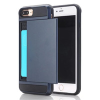 Wholesale New Hybrid Tough Case For iPhone cover TPU Hard PC With Slide Storage Card Holder Armor Cover For iPhone case