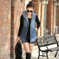 2016 Arrivals New Autumn Veste en jean à capuche Veste Wadded Veste sans manches Jeans Gilet A760