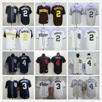 Wholesale San Diego Padres Johnny Manziel Baseball Jerseys Derek Norris Wil Myers Blank Blue Gray White Jersey Accept Mix Order