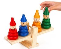 beaming baby wholesale - Clown Balance Beam Scale Rainbow Tower Blocks Wooden Child Baby Toys