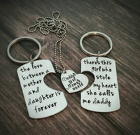 Wholesale 3PC Heart Daddy Mama Mother Girl Silver Plated Pendent Necklace Keychain Keyrings Statement Jewelry Choker Family Party Love