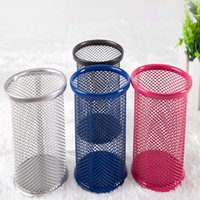 Wholesale Creative hollow out grid metal pen container hang multi function lovely Korean students receive fashion desktop office supplies