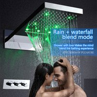 bathroom shower system - Bathroom stainless steel shower head function Hydro Power led rain shower system with waterfall rainfall