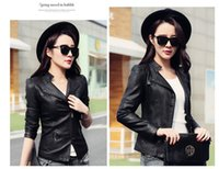 Wholesale 2016 Spring New Arrival European Street Style Plus Size Long Sleeve Zipper Slim Fit Zipper Fashion Short PU Leather Jackets For Women Black