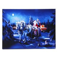 best riding horses - x cm Operated LED Christmas Santa Ride White Horse on Street Xmas Canvas Print Wall Art Your Best Choice Paintings