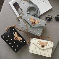 bee pearls - Good quality new fashion style pearl gem diamond bee metal chain women s shoulder bag handbag mini messenger bag purse flap