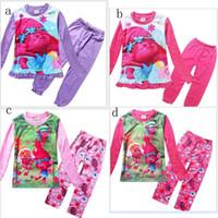 american pajamas - 2017 Children s Spring Autumn Long Sleeve Cartoon Pajamas Trolls Girls Sleepwear Homewear Clothing Sets Two Colors Kids Underwear colors