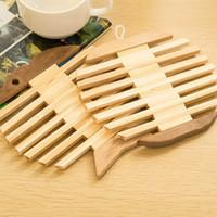 apple coaster - natural eco friendly hollow apple fish shaped posavasos table bamboo mat bowl coffee cup coaster