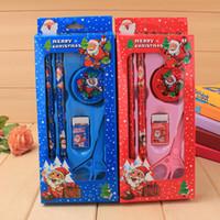 Wholesale 1Set Stationery set Christmas stationery set Santa Claus pencil box Christmas gift Students prizes