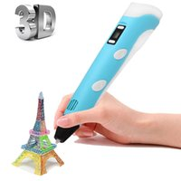art kids drawing - Fashion High Quality Second Generation D Pen DIY Printer Pen LED ABS Filament Arts Design D pens for Kids Drawing Tools retail package