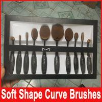 Wholesale M Brand Makeup brush Oval Toothbrush Shape Women Foundation Eye Shadow Blusher Soft Shape Curve Brushes Foundation Cosmetic Tools