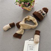 Wholesale 2016 brand new winter children warm three piece of pure cotton hat scarf gloves