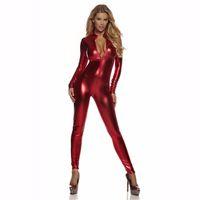 Wholesale Shiny Black Catsuit Bodysuit Zip Up Front Womens Metallic Unitard Long Sleeve Gold Catsuits Spandex Suits Wet Look