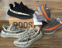 Wholesale Shoe Lace Socks - NEW kanye west men's shoes SPLY - 350 V2 Boost Season 3 Orang Stripe running shoes boost 550 Sneakers (Keychain+Socks+Bag+Receipt+Boxes)