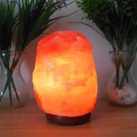 Wholesale Natural Himalayan Rock Salt Lamp lbs with Wood Base Electric Wire Bulb Natural Himalayan Rock Salt Lamp Quality