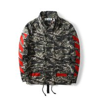 arrow tiger - Quality Goods OFF WHITE Loves Red Flocking Arrow Stripe Tiger Stripes Camo Sweatshirt Jacket Tide Male Female Leisure Long sleeved Jacket