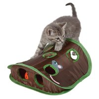 bell exercise ball - Pop Open Mouse Hunt Cat Toy Pet Hide Seek Funny Collapsible Puzzle Exercise Holes Mouse Hunt with Bell ball A239
