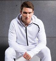 Wholesale zne hoody Sweatshirt Men Solid Color Men Hoodies Casual Side Zipper Mensports Suit Slim Sportsware Tracksuit Black Hoody