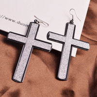 Wholesale Europe and the United States to restore ancient ways frosted long contracted cross earrings hot style of foreign trade