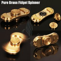 Wholesale Best Pure Brass Fidget Spinner Toy Hand Spinners golden Torqbar Style Ceramic Bearing Crazy EDC Finger Tip Rotation HandSpinner anxiety Toy