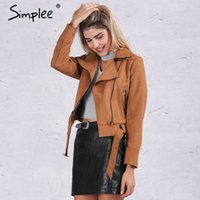 leather motorcycle apparel - Simplee Apparel Zipper basic suede jacket coat motorcycle jacket Women outwear Pink belted short winter jackets