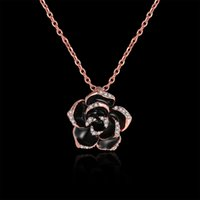 Wholesale Fashion Rose Gold Pendant Necklace Lady Rose