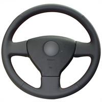Cubierta negra del volante del coche del cuero genuino de XuJi para el polo viejo del golf de VW de Volkswagen Polo Sagitar Lavida 2010 de Volkswagen
