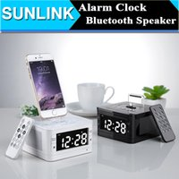 alarms docking stations - LCD Digital FM Radio Alarm Clock Music Dock Charger Station Portable Audio Music Wireless Bluetooth Stereo Speaker for iPhone s s plus
