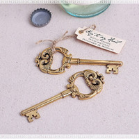Wholesale Key to My Heart Vintage Key Bottle Opener Gold Wedding Favors and gifts Party Guests gift box Presents wa2928