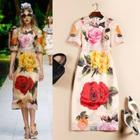 Wholesale High quality New Fashion Women Spring Print Dress Runway European Designer Vintage Party Style Dress