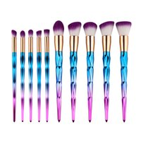 Wholesale DHL Acetery Professional Diamond Unicorn Makeup Brushes Pieces Gradient Cosmetics Colorful Neon Shimmer Makeup Tool
