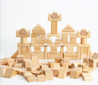 Wholesale HiCrazyFunny Pc Wooden Blocks Wood Building Block Set with Container for Toddlers Boys