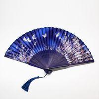 al por mayor ventiladores de baile japonés-Antiguo ventilador plegable chino ventilador clásico plegable japonés anime niña de la danza oriental y cereza pequeño fan de baile