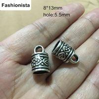 achat en gros de bijoux boucle antique-Ewelry Conclusions -Antique Silver Tone Tassel Caps Boucle d'extrémité de cordon 8 * 13mm avec boulon de 5.5mm faisant des accessoires 60PCS / lot
