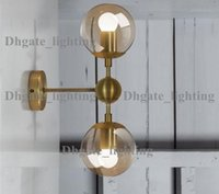Wholesale Gold modo wall lamp modern wall sconce modo wall light glass shade lighting iron fixture globe globes golden color