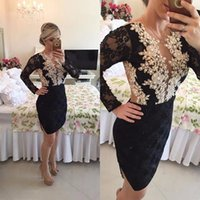 Wholesale Sheath Lace Prom Party Dresses with Appliques and Beads Long Sleeves Little Black Short Cocktail Dress with Illusion Sheer Back
