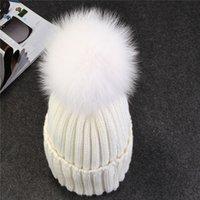 Prezzi Wool hat-Nuovo visone caldo e protezione della sfera pon pon inverno cappello di pelliccia di volpe per il cotone cappello di lana lavorata a maglia di zecca beanies berretto nuovo tappo spesso femminile donne ragazza s '