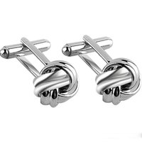 Wholesale Knot Cufflinks for Men Shirt Cufflinks Gold Silver Plated Unique Business Wedding French Grooms Shirt Brand Copper Cuff Links