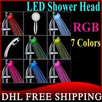 Wholesale DHL RGB Color Changing LED Shower Head Sprinkler Automatic Control Bathroom Shower Heads