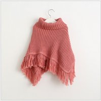 Wholesale High Quality New Baby Girls Tassel Poncho Cape Autumn Winter Cute Girl Solid Color Knitted Poncho Outwear Korean Style Kids Shawl