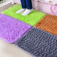 Wholesale 15 in fashion simple fluff carpet bedroom bathroom non slip mats soft carpet pure color mats