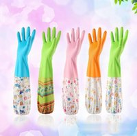 Wholesale Durable Waterproof Household Glove Warm Dishwashing Glove Water Dust Stop Cleaning Rubber Glove colors M L size Plus velvet inside